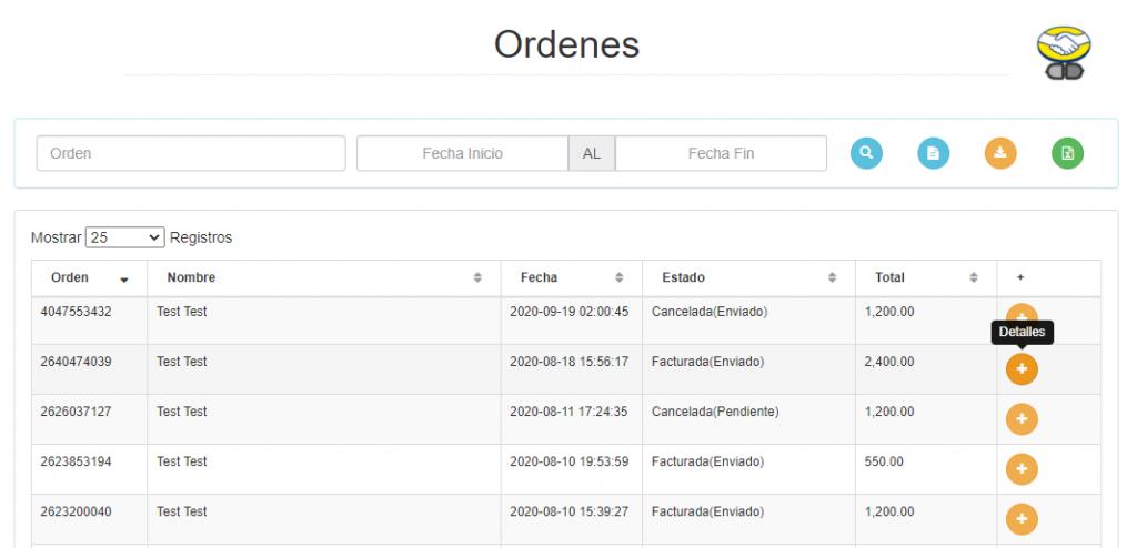 Listado de ventas - Mercado Libre -Portal facturación
